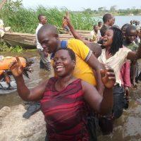 Believers getting baptized